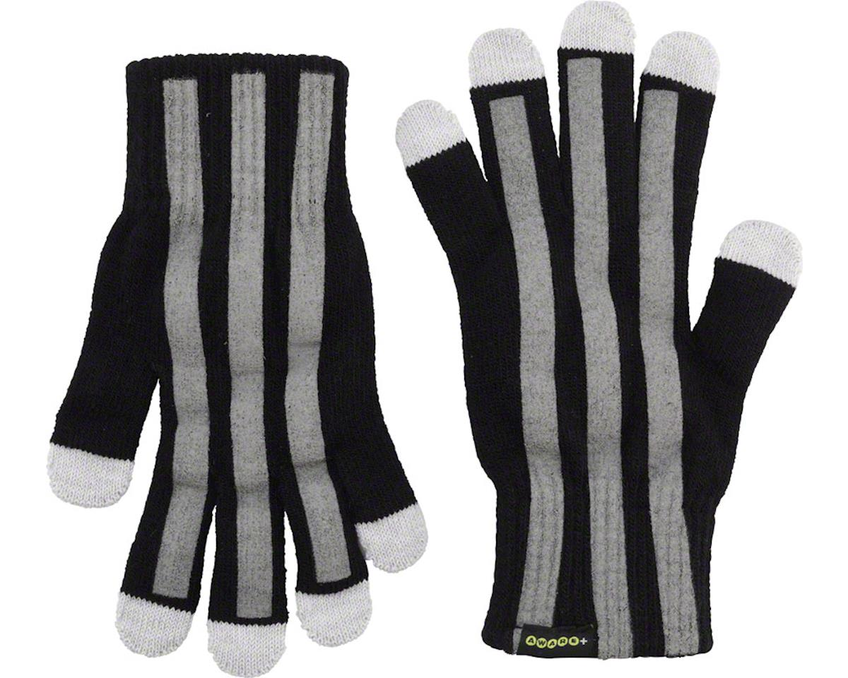 Cycleaware Reflect+ Hi-Vis Reflective Glove (Black/Stripes)