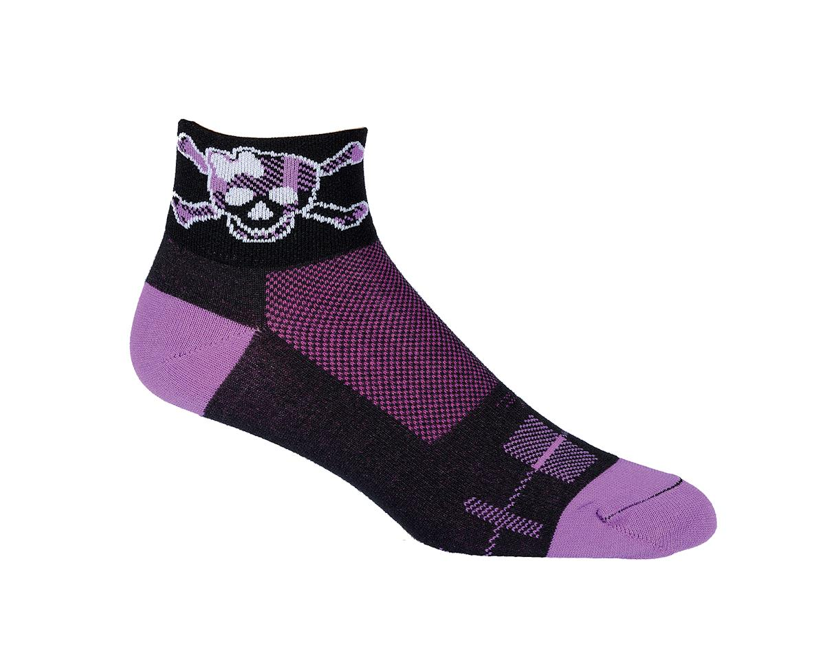 "DeFeet Women's Aireator DamselFly 2"" Socks (Black/Purple)"