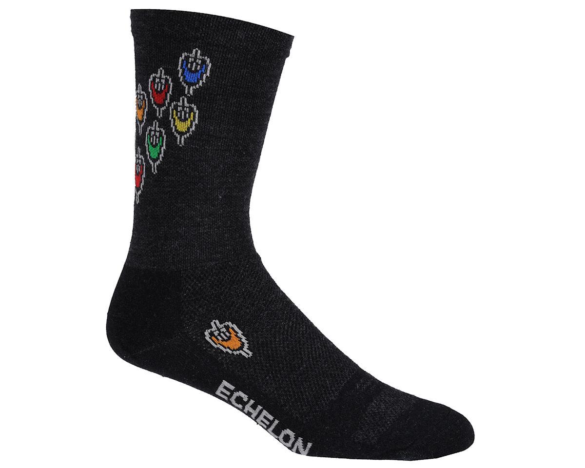 """DeFeet Wooleator Echelon 6"""" Socks (Black/Multi)"""