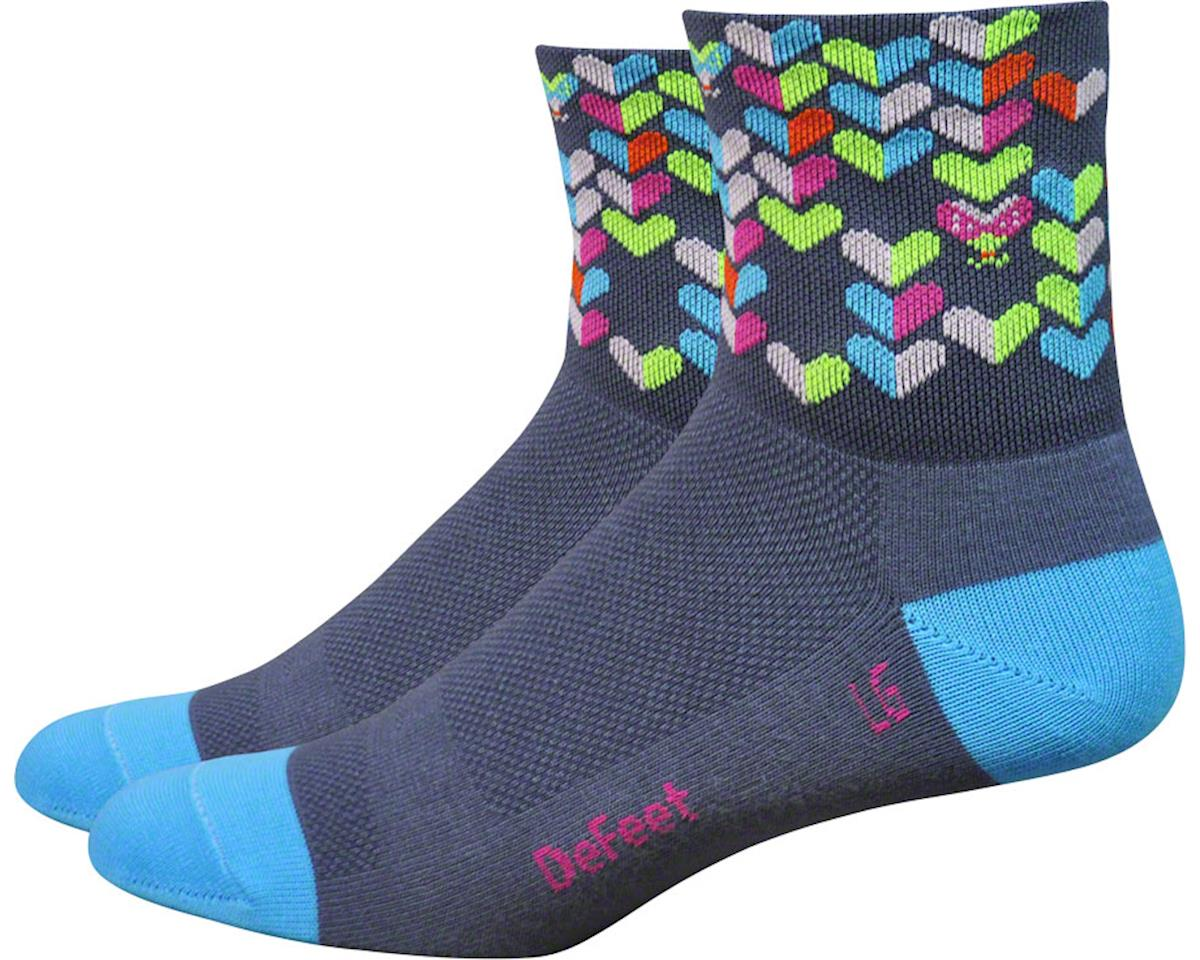 "DeFeet Aireator Women's 3"" Love Bug Sock (Graphite/Light Blue) (S)"