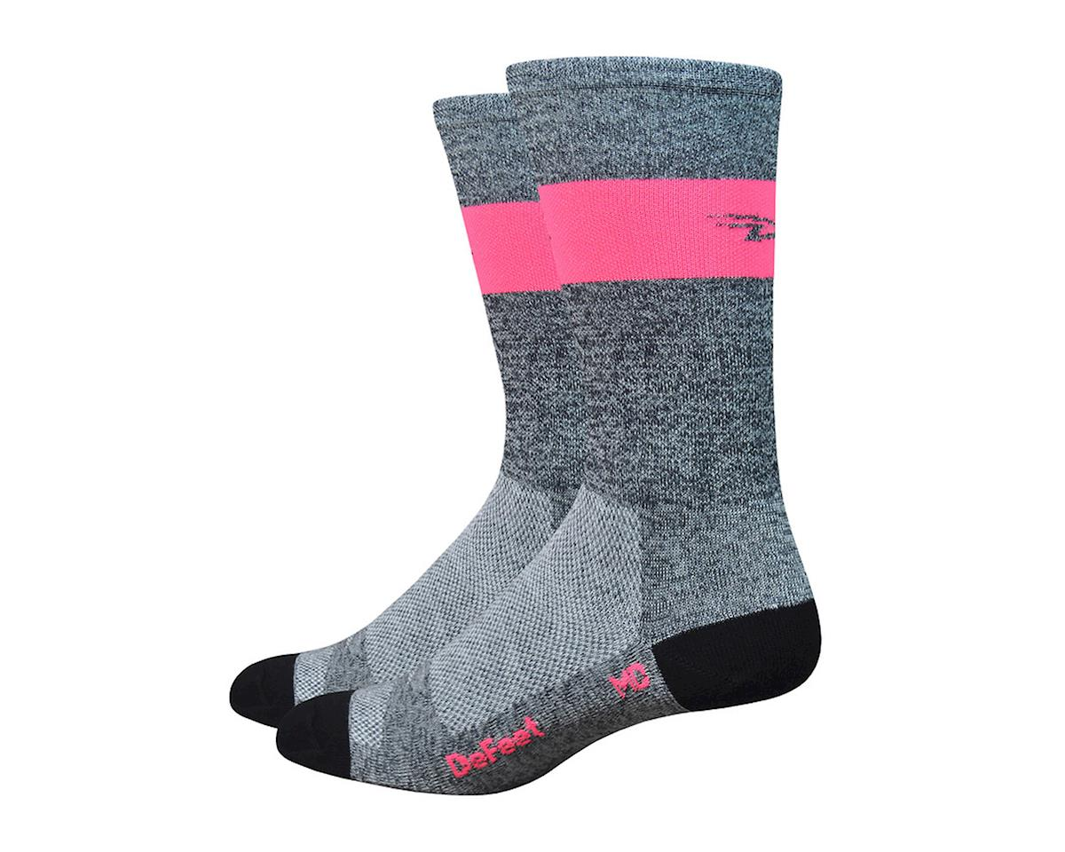 DeFeet Aireator SL Sock (Gray Heather/Flamingo Pink Stripe) (XL)