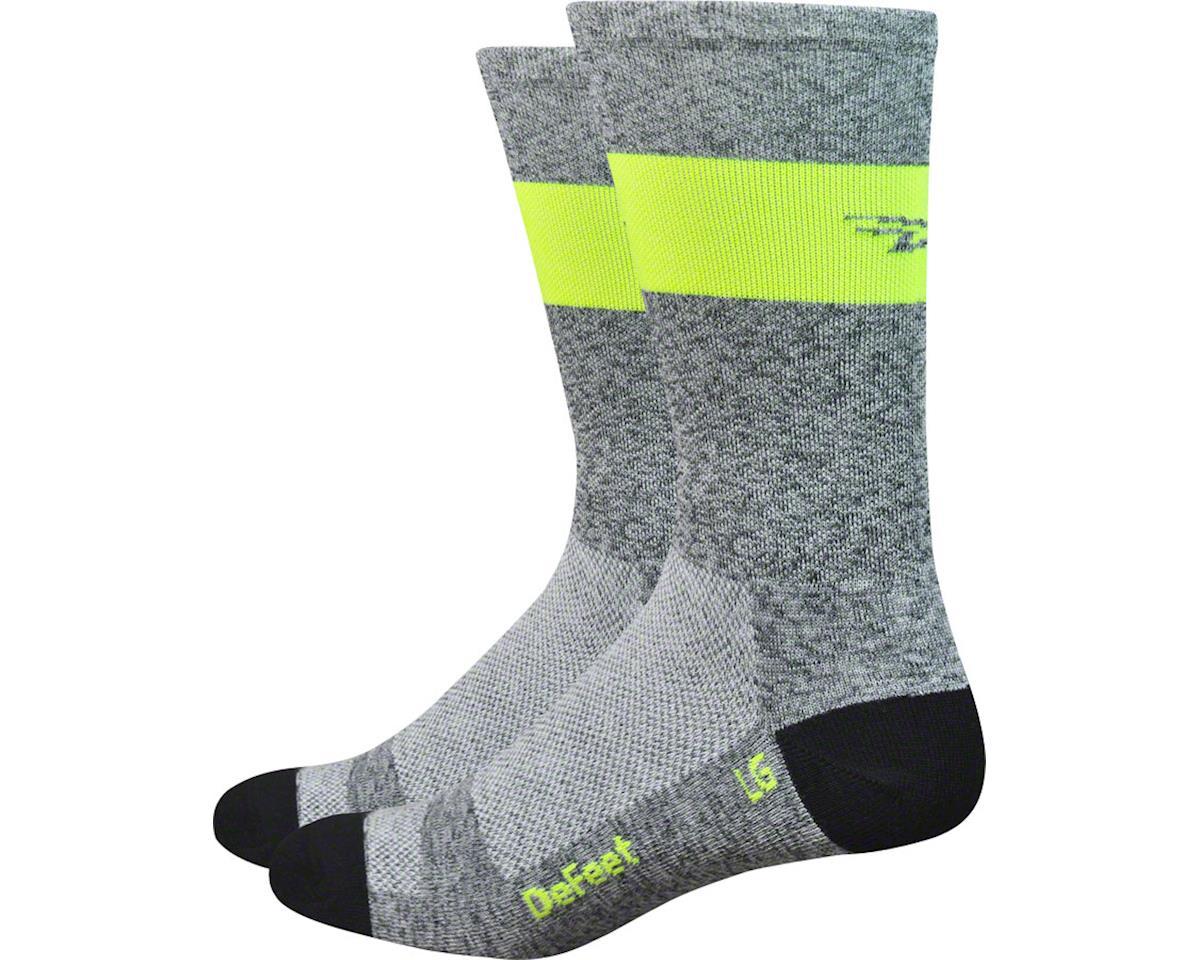 DeFeet Aireator SL Sock (Gray Heather/Hi-Vis Yellow Stripe) (S)