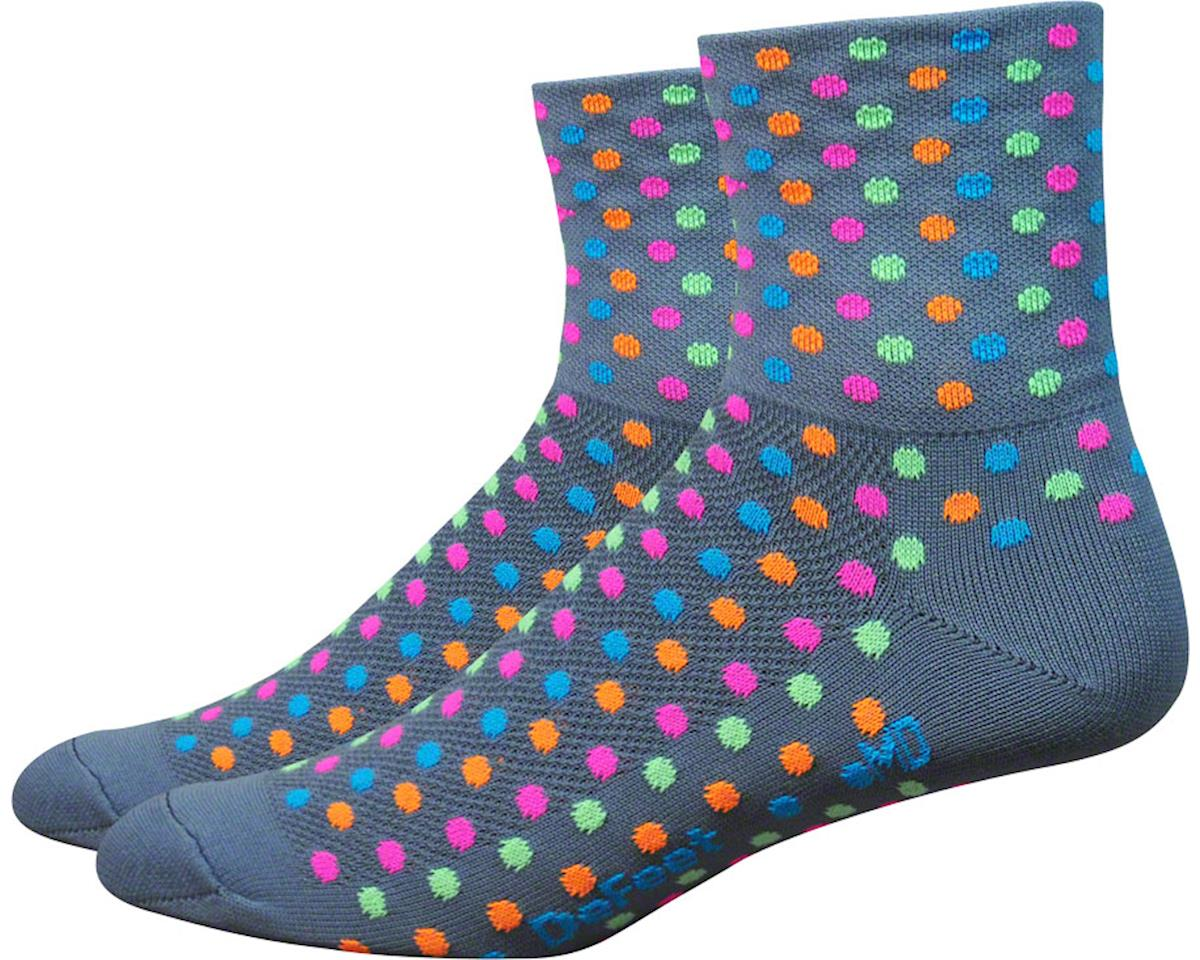 "DeFeet Aireator 3"" Spotty Sock (Gray/Multi-Colored Spots)"