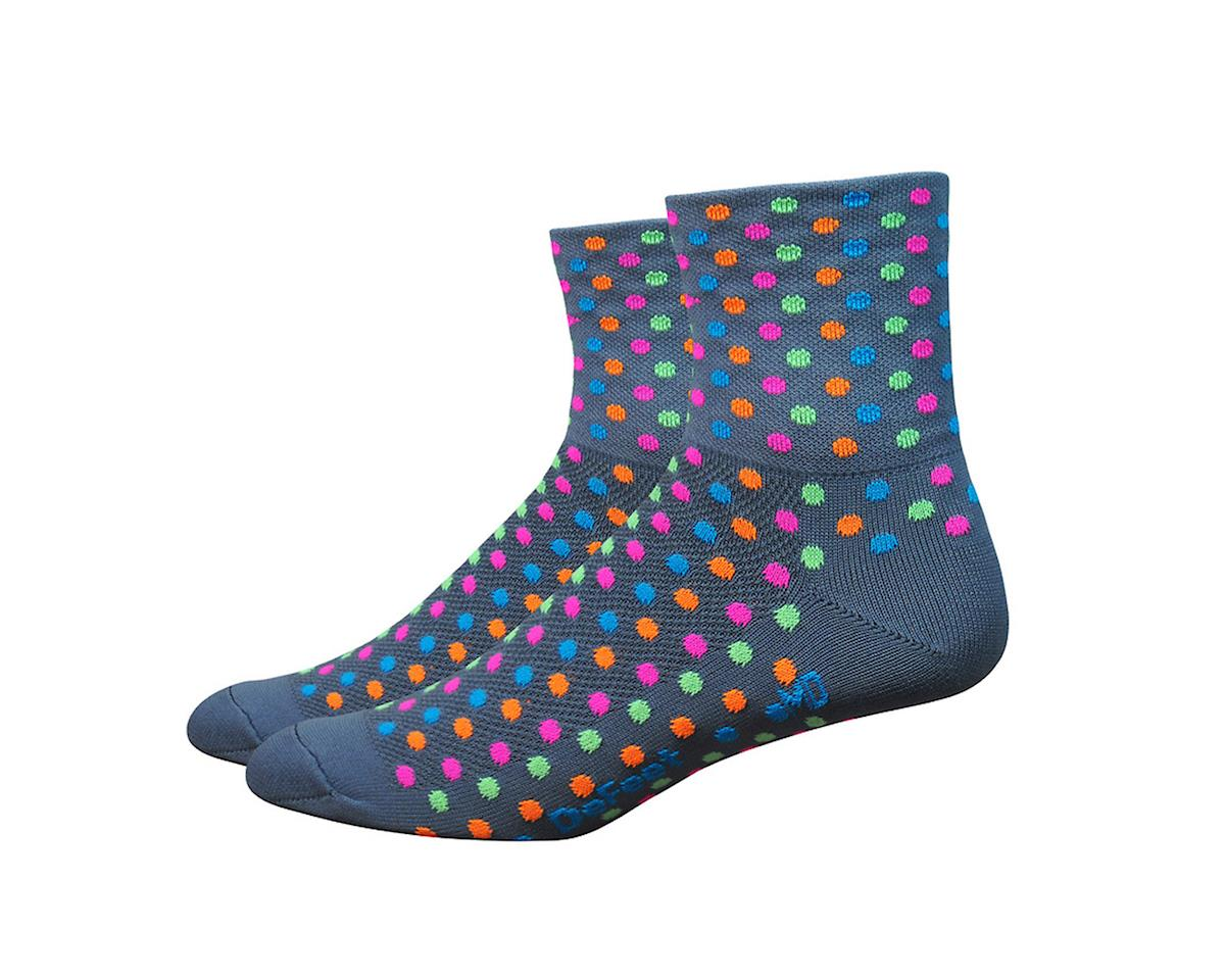 "DeFeet Aireator 3"" Spotty Sock (Gray/Multi-Colored Spots) (M)"