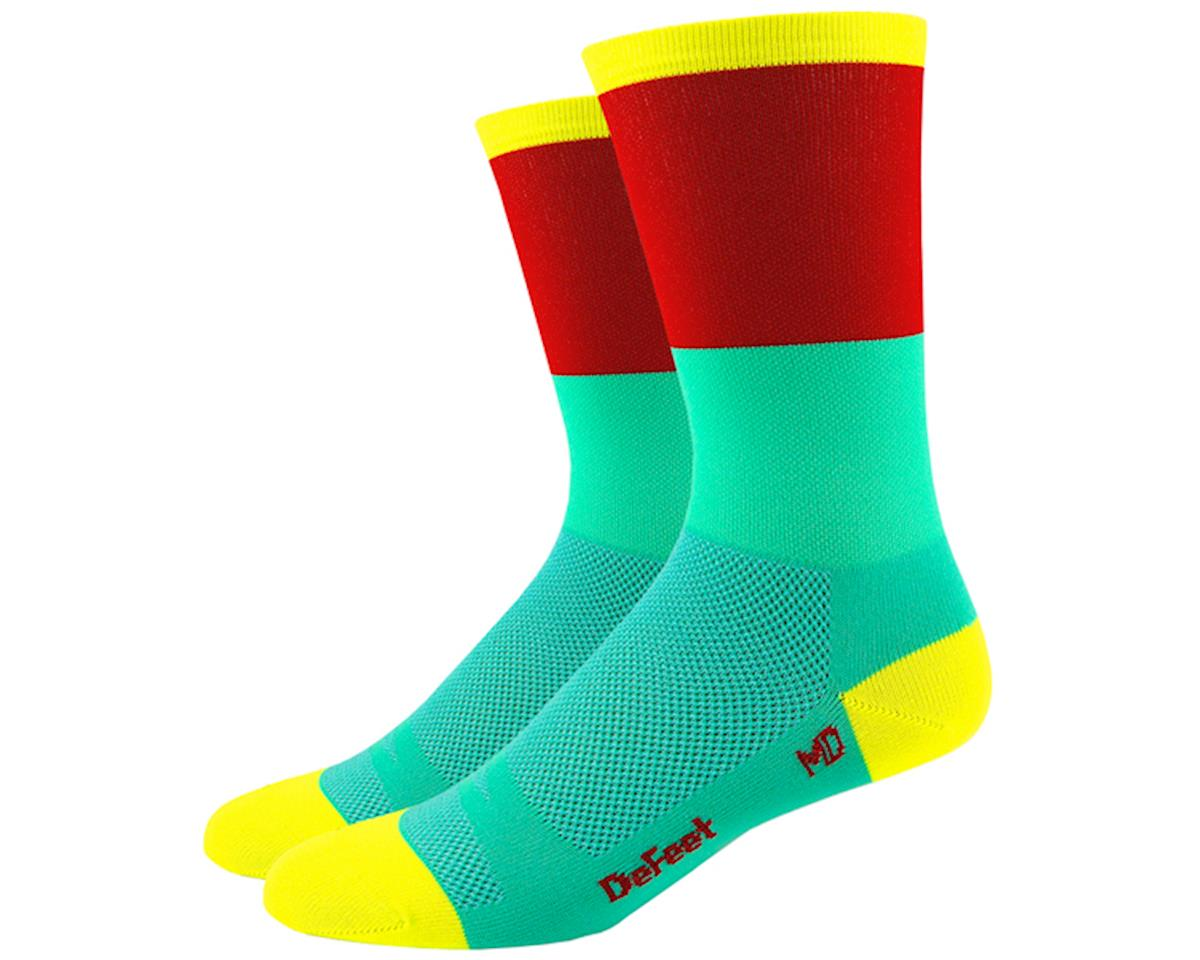 "DeFeet Aireator 6"" Socks (Celeste Blue/Red) (XL)"