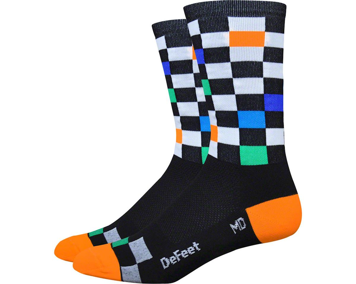 "DeFeet Aireator 6"" Fast Times Sock (Black/Multi-Colored Checkers) (XL)"