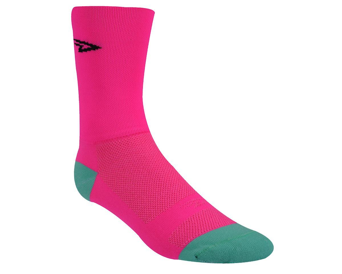 """DeFeet Aireator 5"""" D-Logo Sock (Hi-Vis Pink) (L)"""