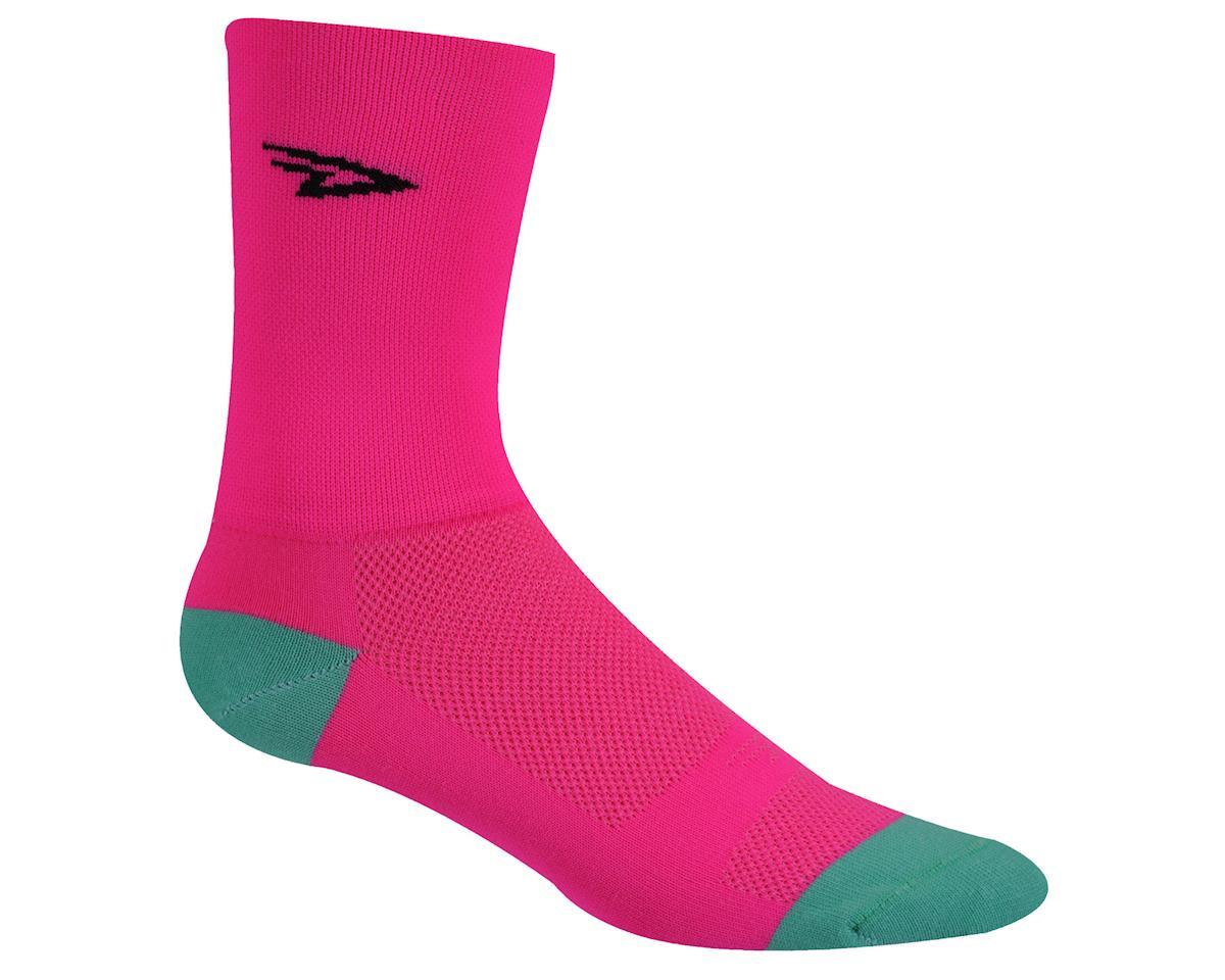 """DeFeet Aireator 5"""" D-Logo Sock (Hi-Vis Pink) (XL)"""