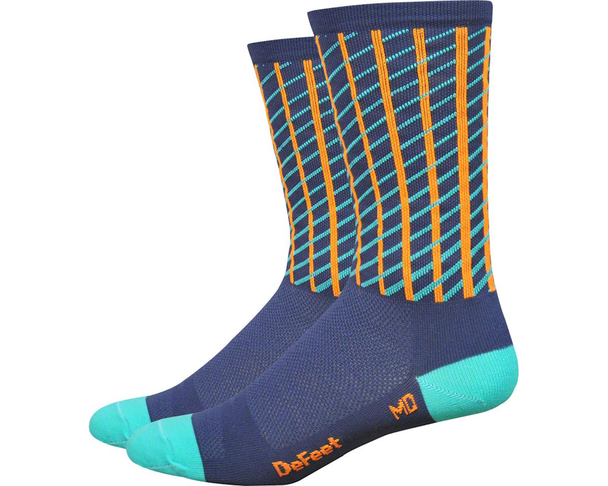 DeFeet Hi Rouleur Aireator Net Sock (Charcoal/Celeste Blue/Orange)