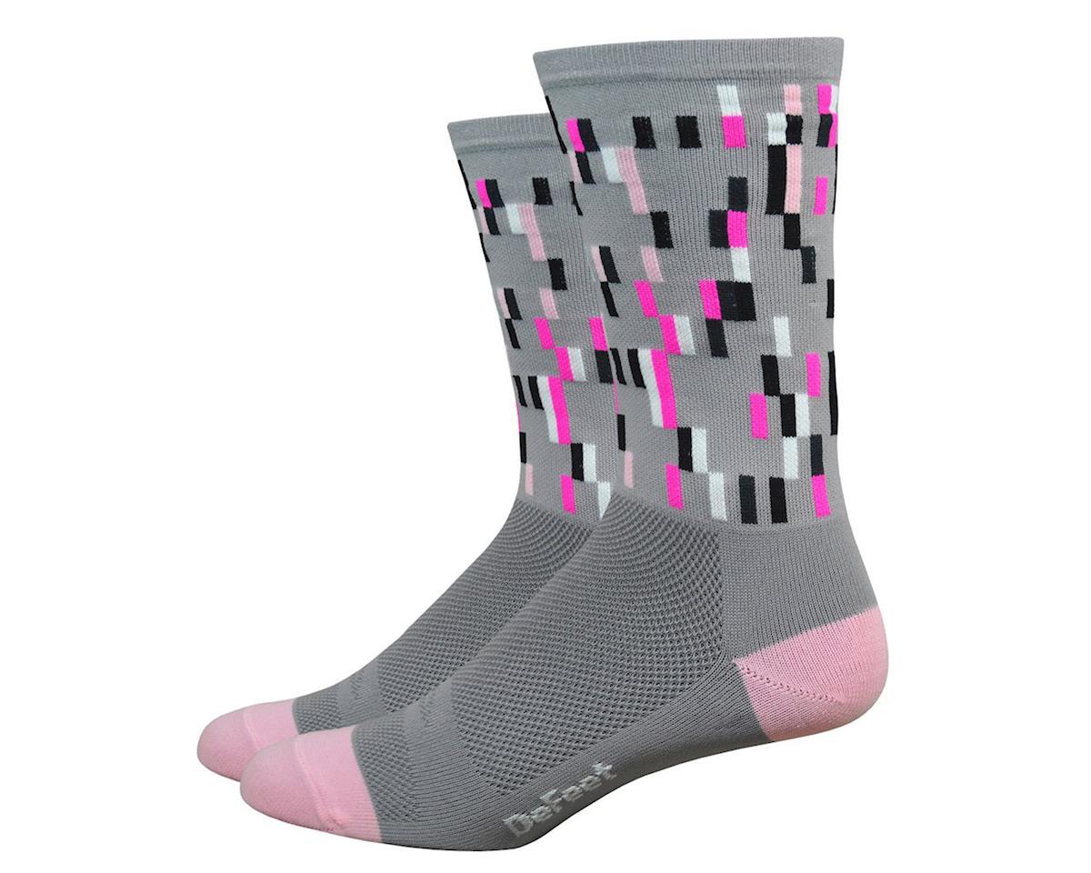 """DeFeet Aireator 6"""" Sock (Barnstormer Pixel Grey/Pink) (S)"""