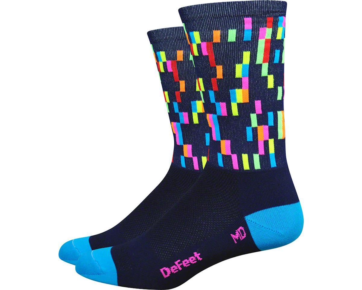 """DeFeet Aireator 6"""" Barnstormer Pixel Sock (Navy/Process Blue/Hi-Vis Pink) (L)"""