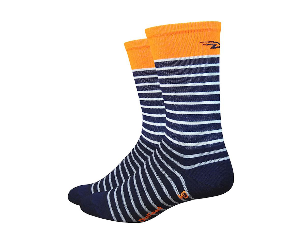 "DeFeet Aireator 6"" Sailor (navy/wht/hi-vis org) 9.5-11.5"