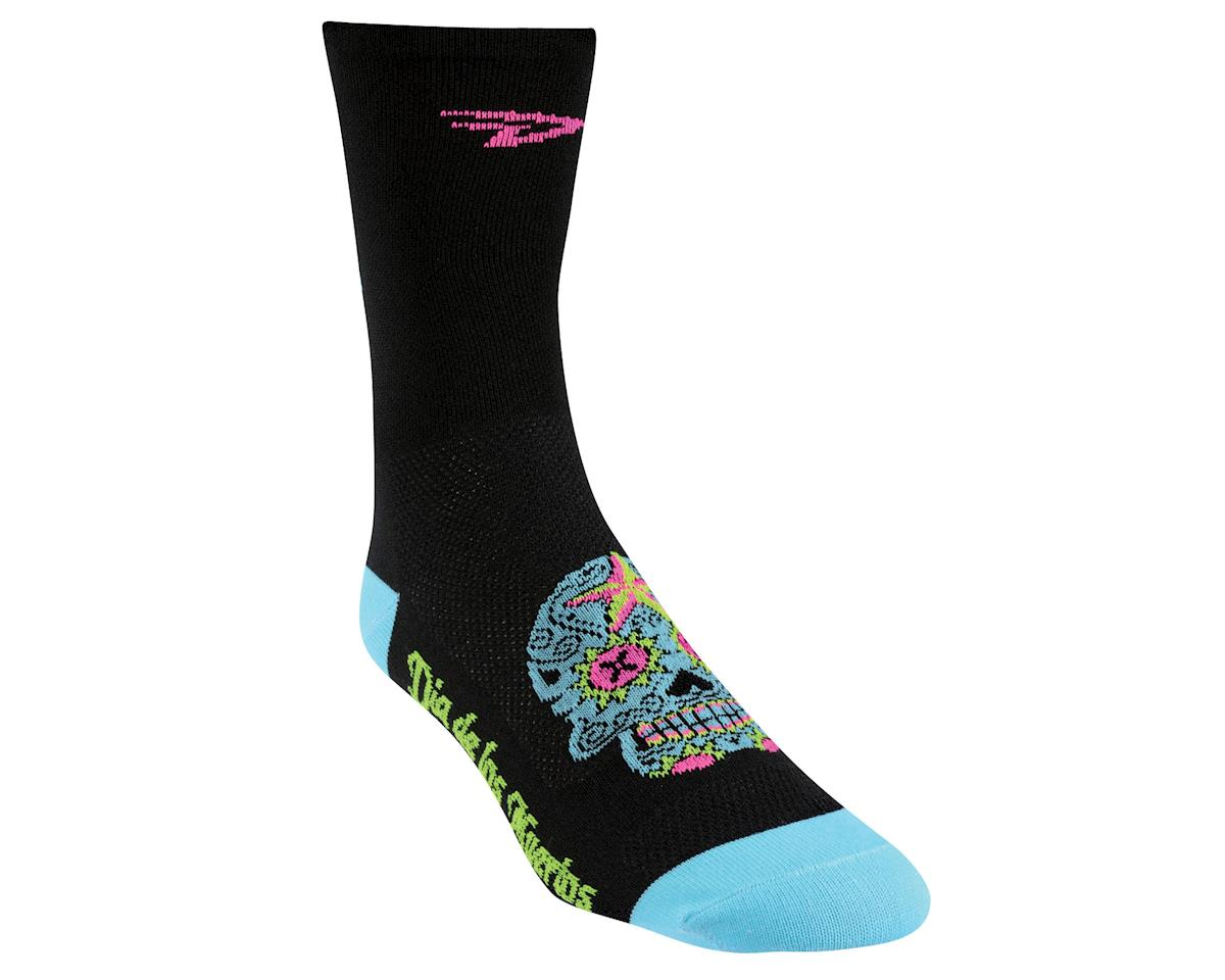 "DeFeet Aireator 5"" Sugar Skull Socks (Black/Neptune) (S)"
