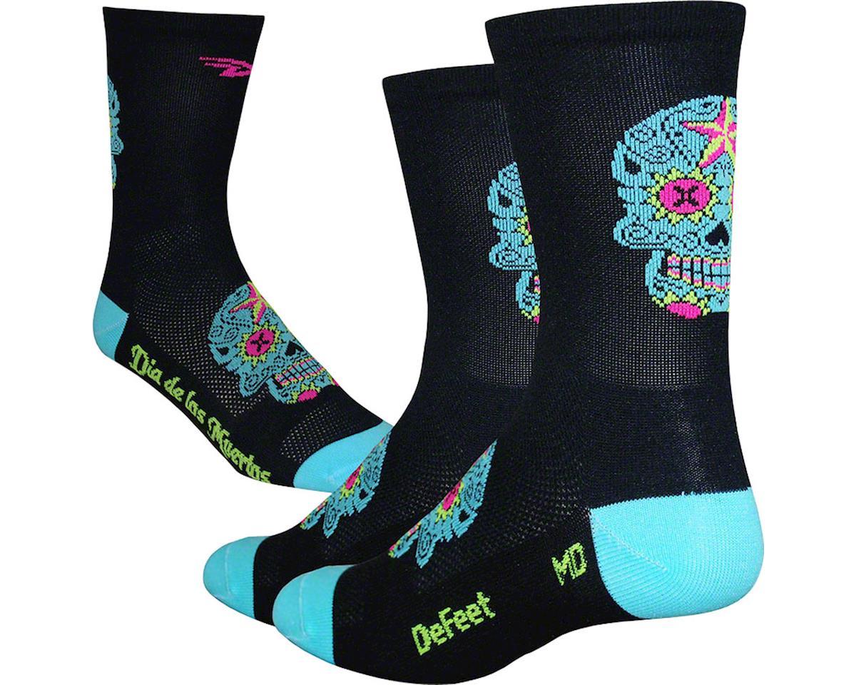 """DeFeet Aireator 5"""" Sugar Skull Socks (Black/Neptune) (XL)"""