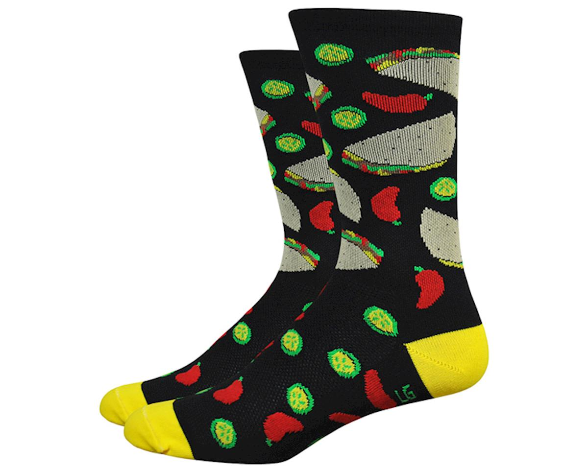 """DeFeet Aireator 6"""" Taco Tuesday Socks (Black w/ Tacos & Peppers) (L)"""
