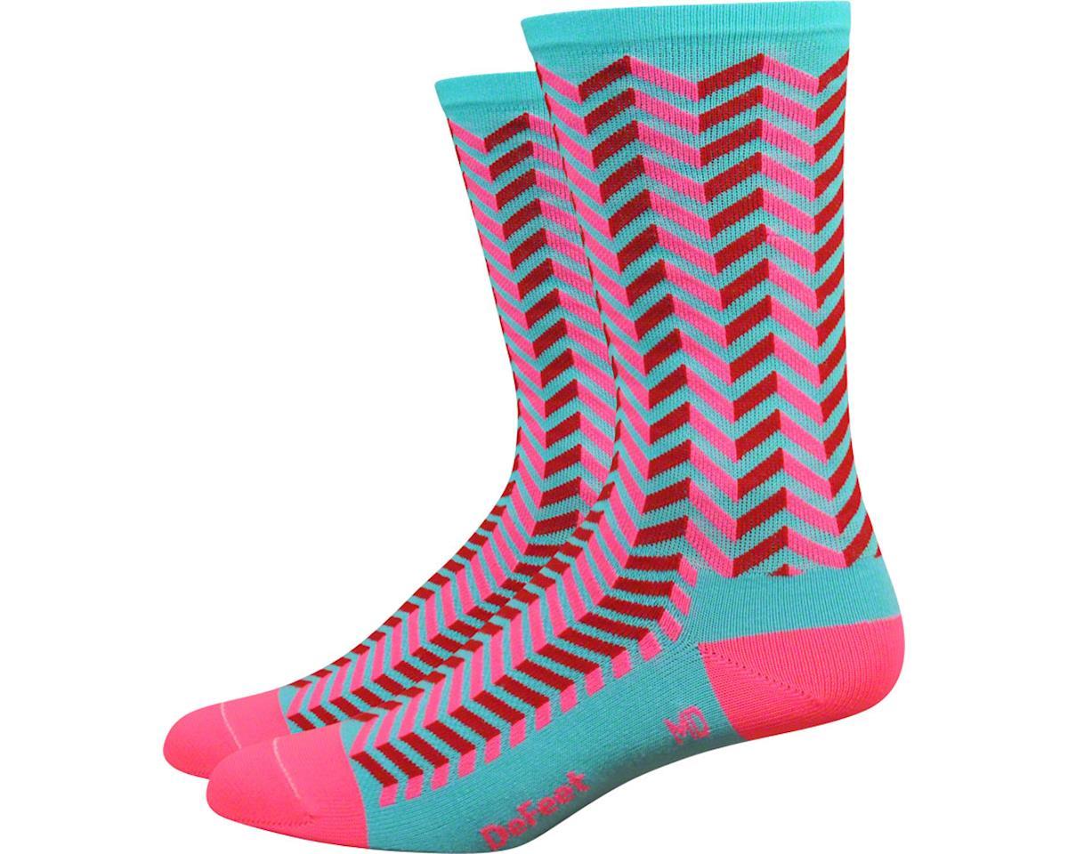 "DeFeet Aireator 6"" Barnstormer Vibe Sock (Neptune/Flamingo Pink) (XL)"