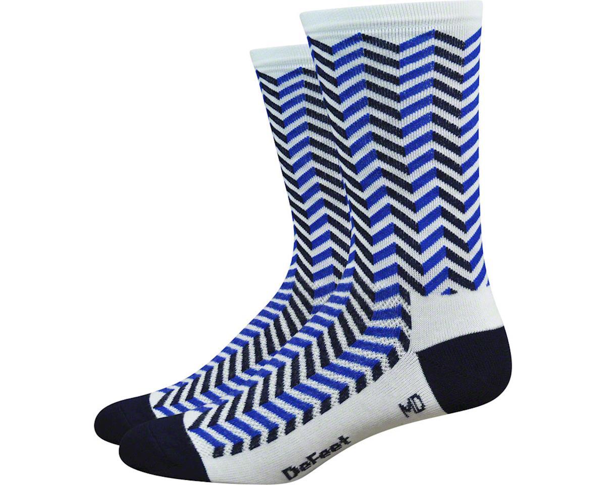 "DeFeet Aireator 6"" Barnstormer Vibe Sock (White/Navy Blue) (XL)"
