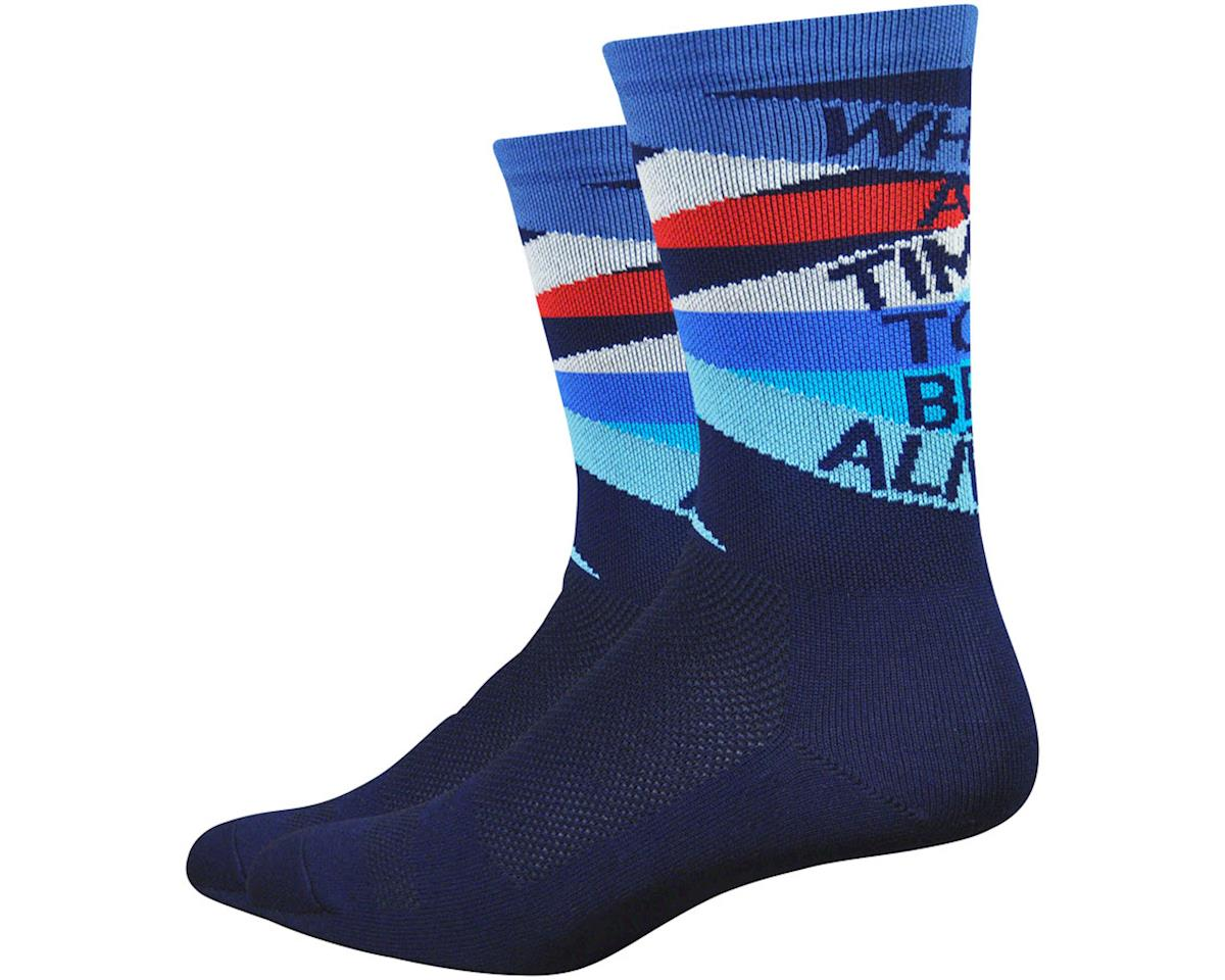 """DeFeet Aireator 6"""" What A Time To Be Alive Socks (Blue) (L)"""