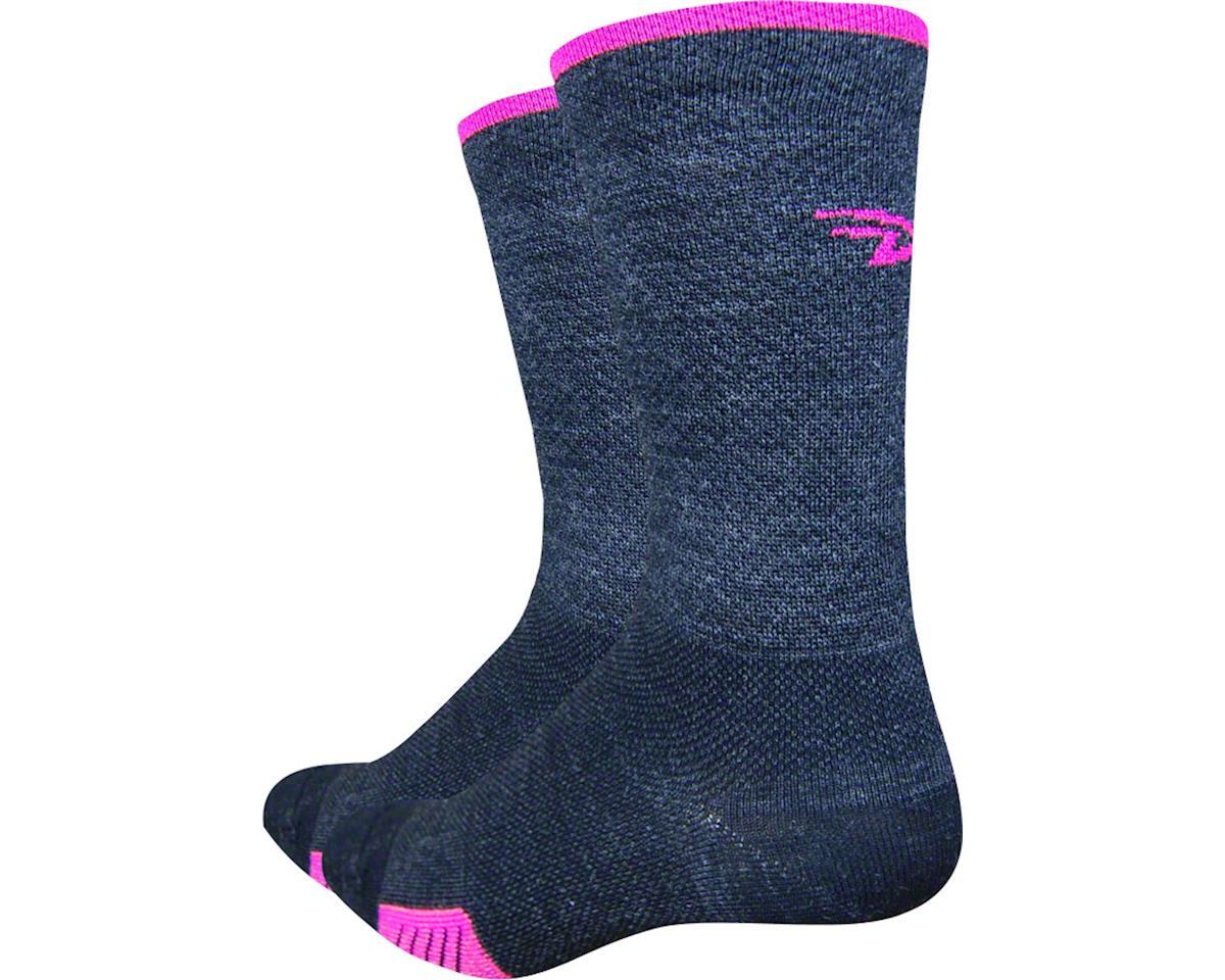 "DeFeet Cyclismo Merino Wool 5"" Sock (Charcoal/Hi-Vis Pink) (S)"