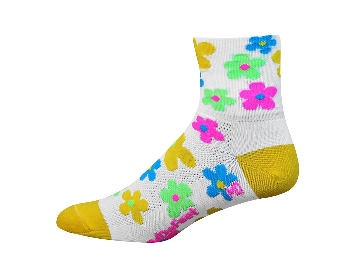 "DeFeet Women's Aireator 3"" Pedals Socks (White/Yellow)"