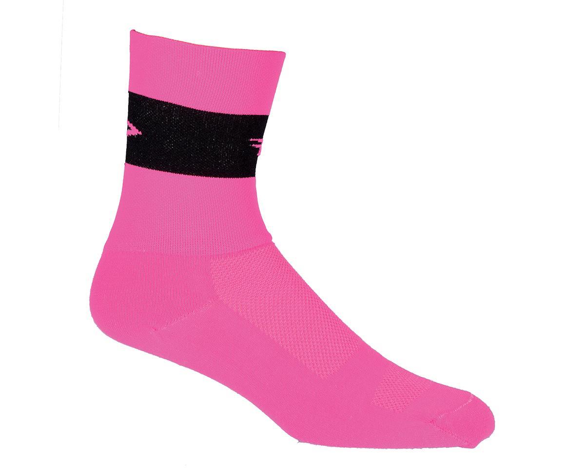 """DeFeet Aireator Team DeFeet Hi-Vis Pink/Black Stripe 5"""" Socks (Pink) (Xlarge)"""