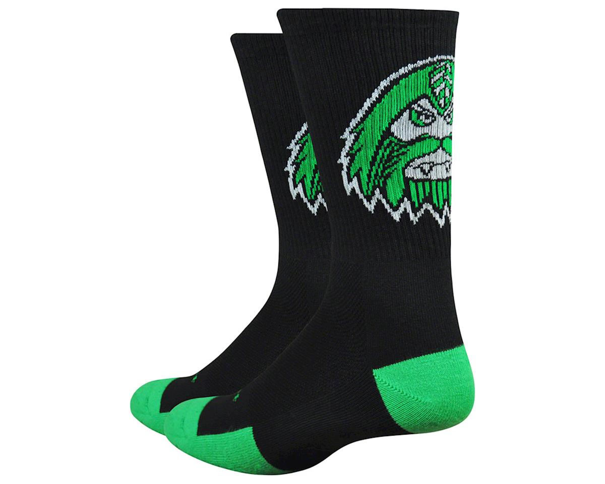 """DeFeet Levitator Trail 6"""" Bigfoot Socks (Black/Green)"""