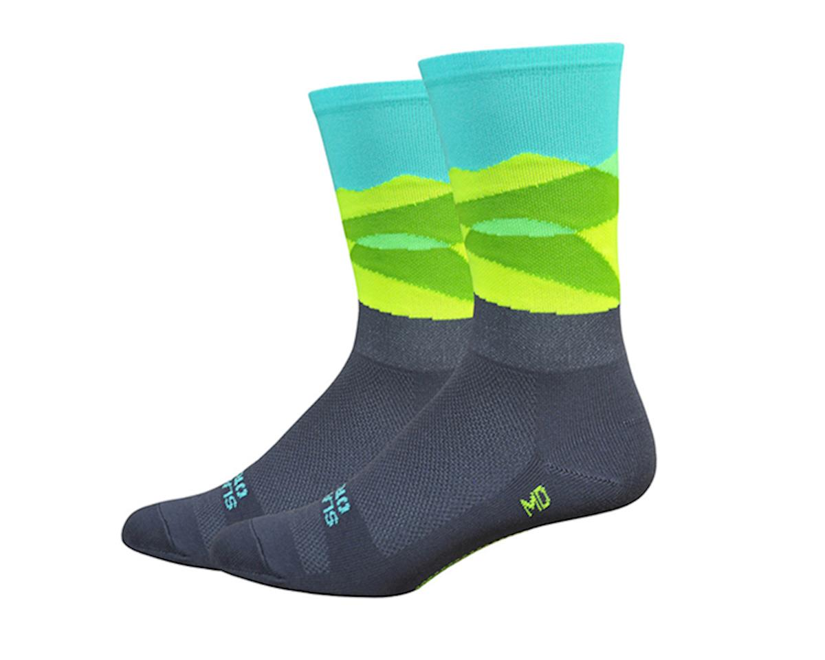 "DeFeet Aireator 6"" Ornot Mt Tam Socks (Grey/Hi-Vis Yellow & Teal) (M)"