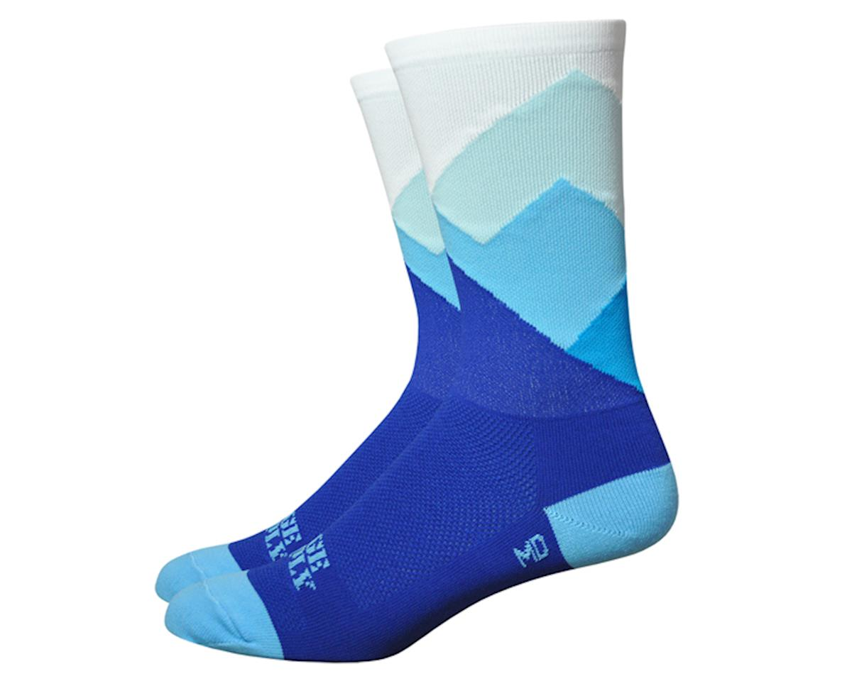 "DeFeet Aireator 6"" Alpine socks, blue/white 9.5-11.5"