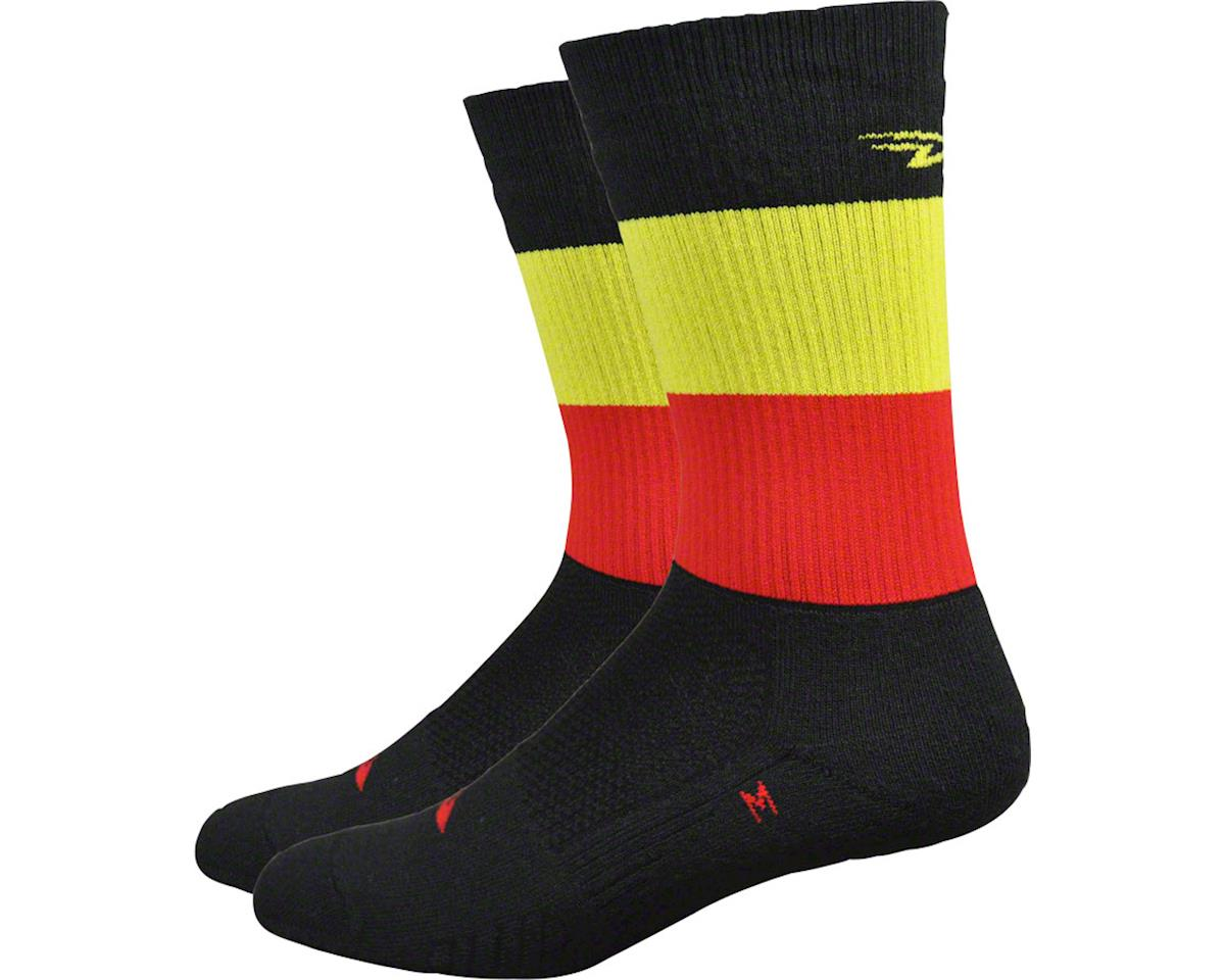 "DeFeet Thermeator 6"" Belgie Sock (Black/Red/Gold) (XL)"