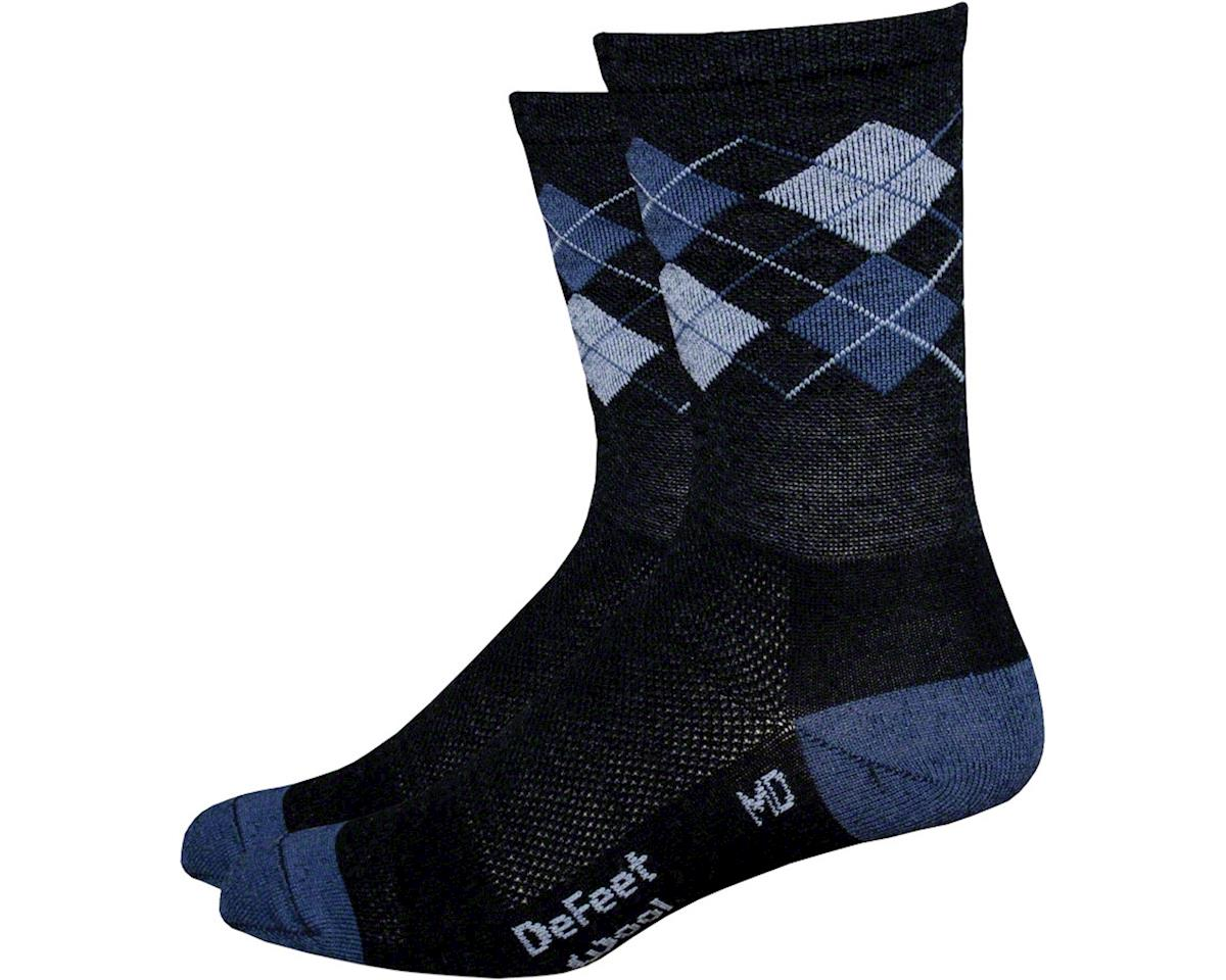 "DeFeet Wooleator 6"" DNA Sock: Charcoal/Blue/Pink XL"