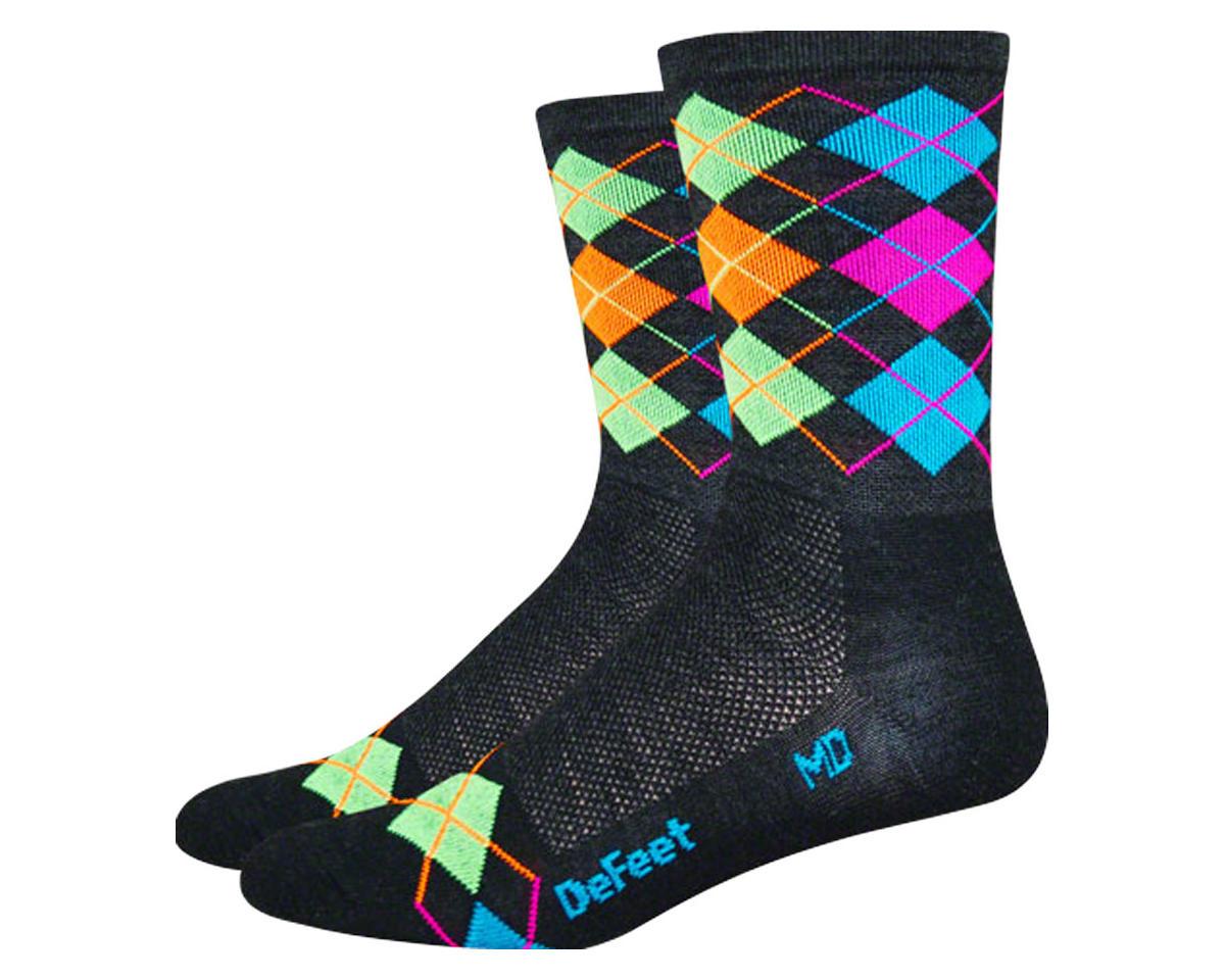 DeFeet Wooleator Hi-Top Sock (Argyle Charcoal/Orange/Blue/Green/Pink) (S)