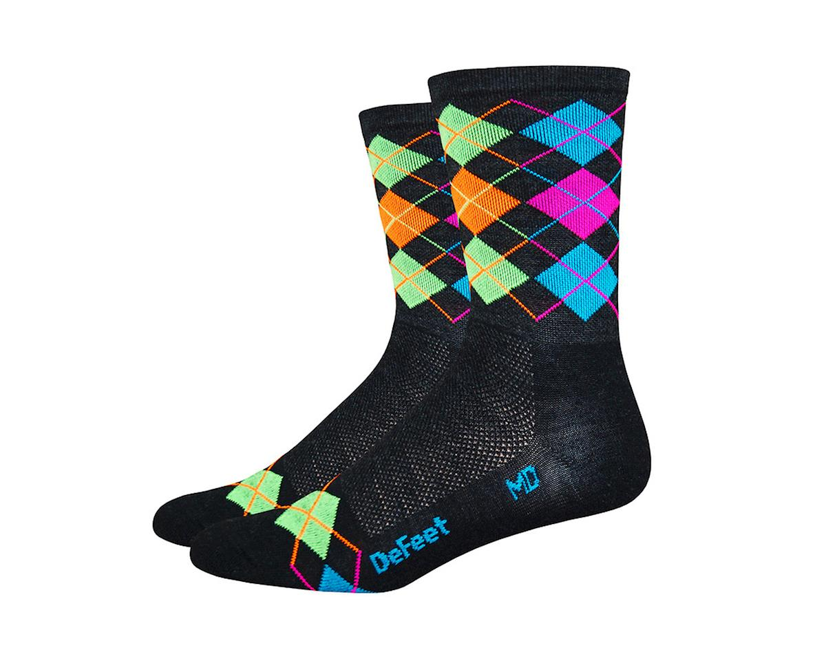 DeFeet Wooleator Hi-Top Sock (Argyle Charcoal/Orange/Blue/Green/Pink) (L)