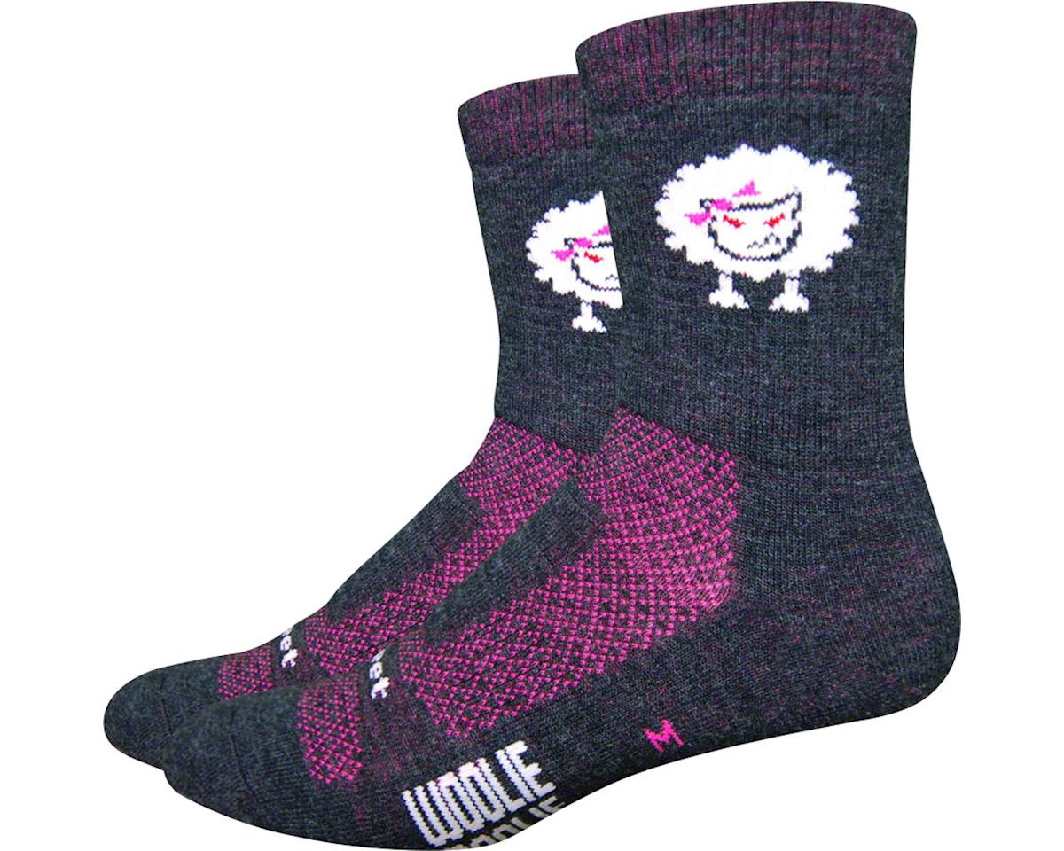 "DeFeet Woolie Boolie 4"" Baaad Sheep Sock (Charcoal/Neon Pink) (M)"