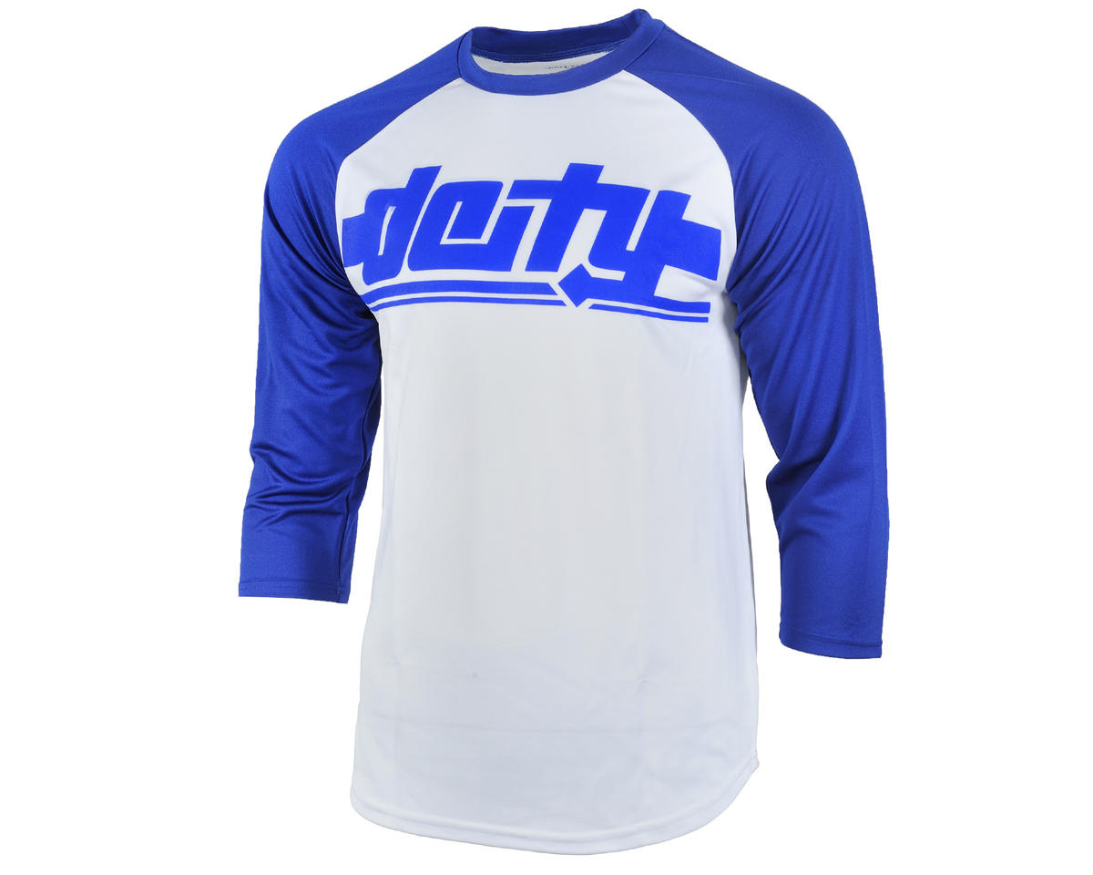 Deity Throttle 3/4 Sleeve Cycling Jersey (White/Blue)