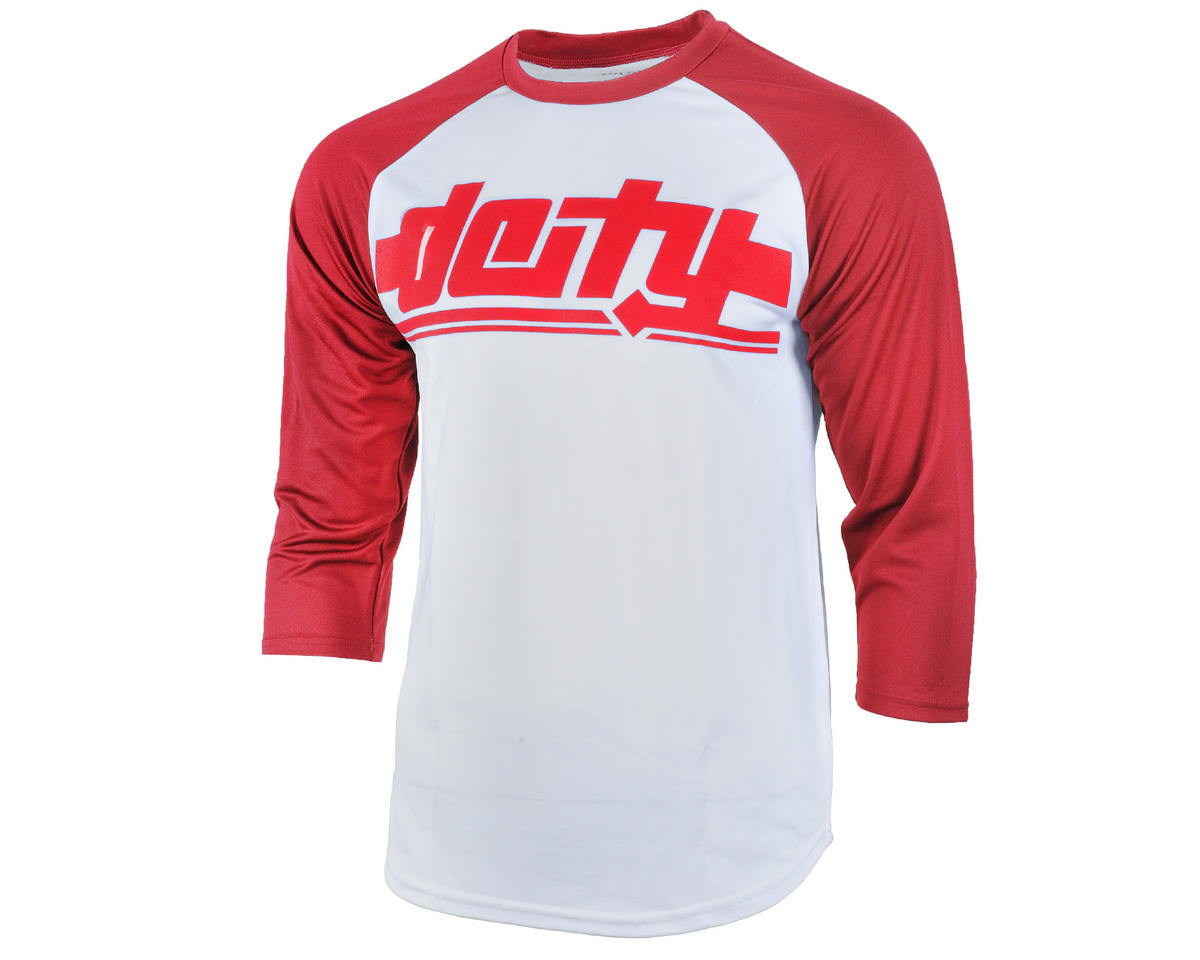 Deity Throttle 3/4 Sleeve Cycling Jersey (White/Red)