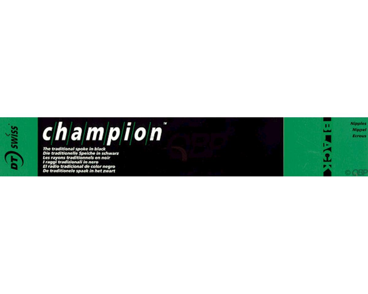 DT Swiss Champion 2.0 Blank Spokes: Straight Pull, 315mm, Threadless, Black, Box