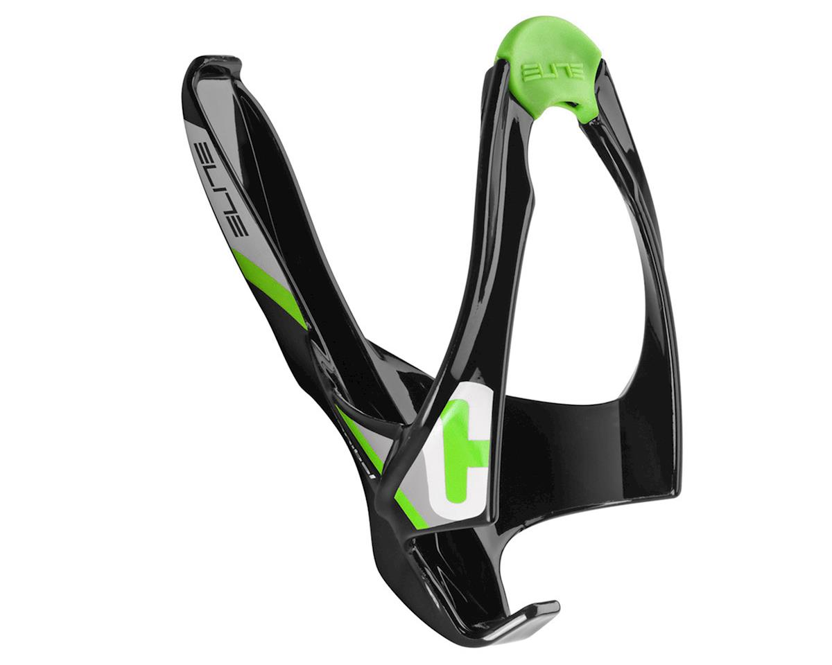 Elite Cannibal Lateral Entry Bottle Cage (Black/Green Logo)