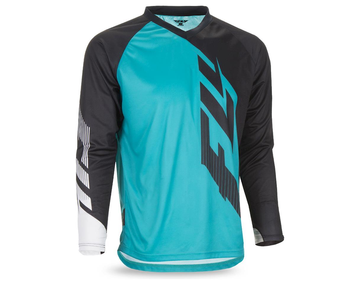 Fly Racing Radium Men's Long Sleeve MTB Jersey (Black/Teal/White) (XL)