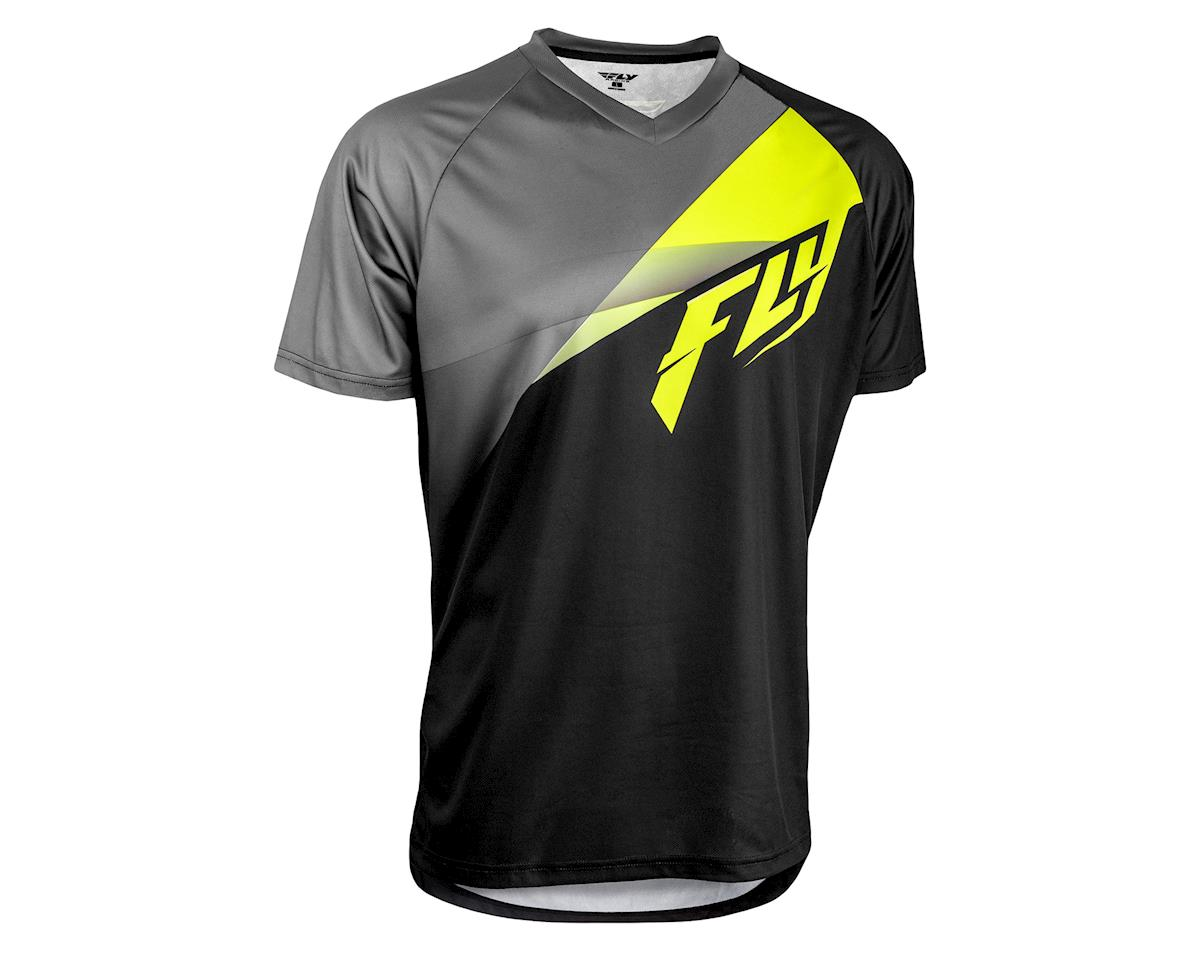 Fly Racing Super D Jersey (Black/Lime/Grey) (L)