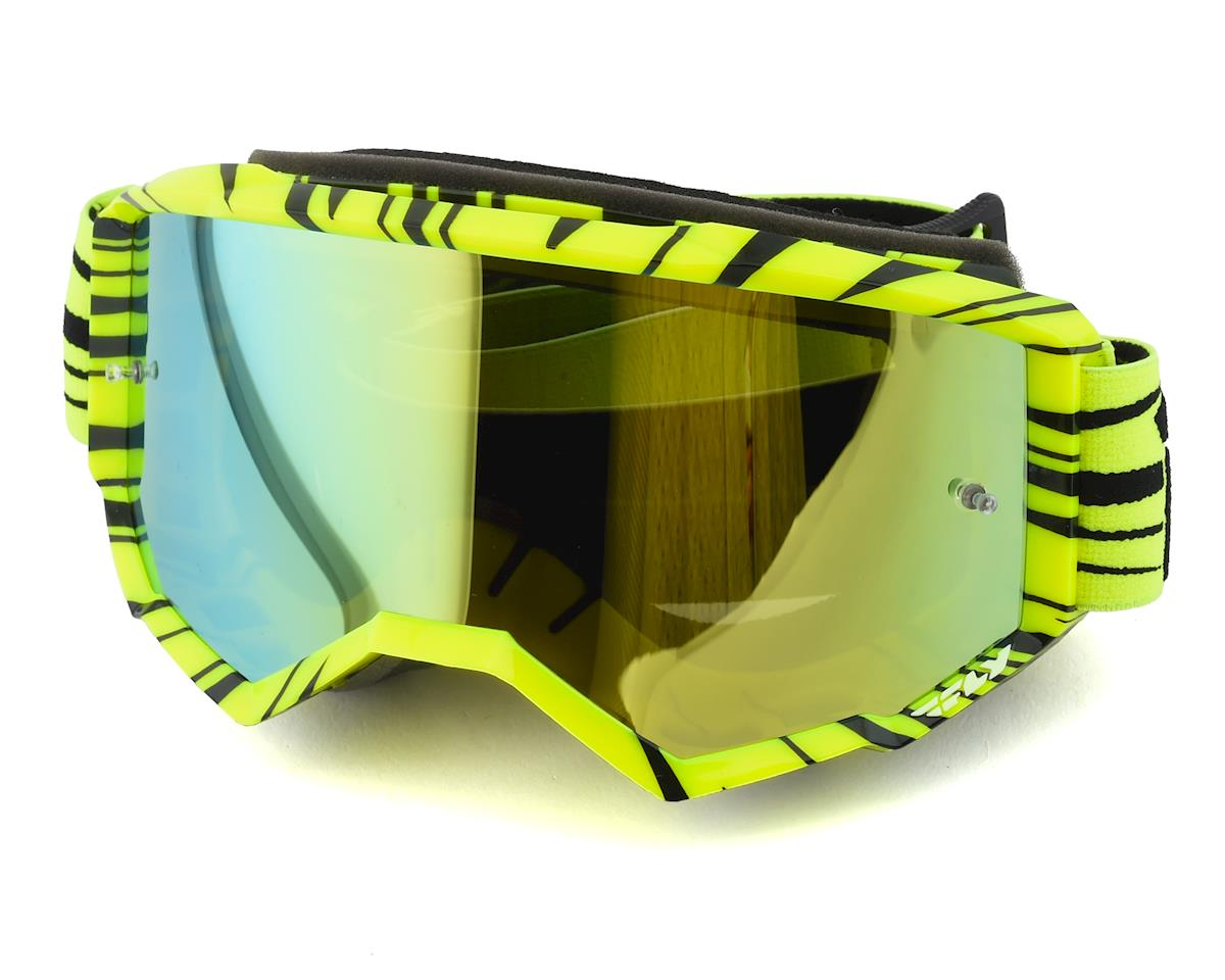 Fly Racing Zone Goggle (Hi-Vis Yellow/Black) (Gold Mirror Lens)