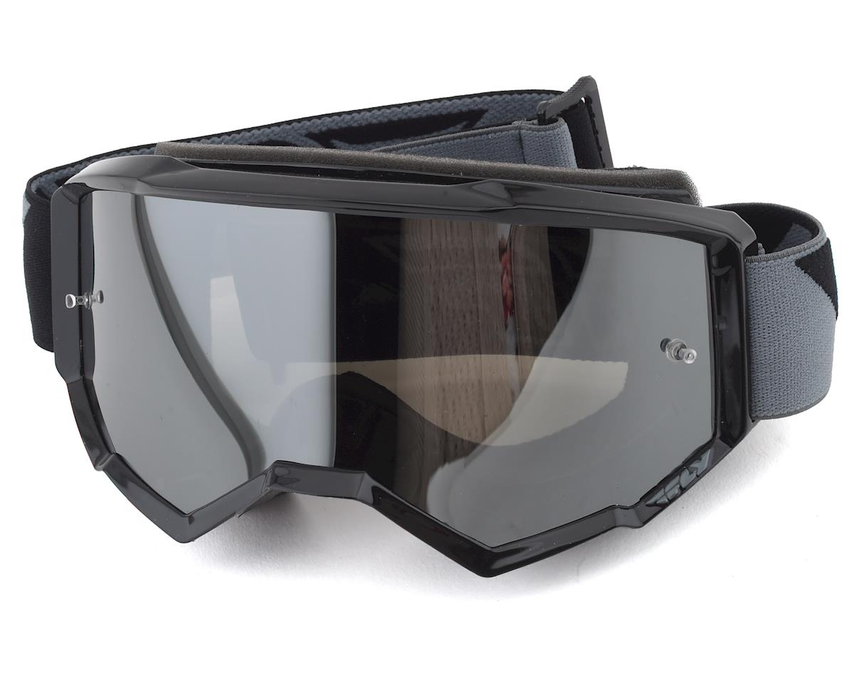 Fly Racing Zone Goggle (Black/Silver) (Mirror Smoke Lens)