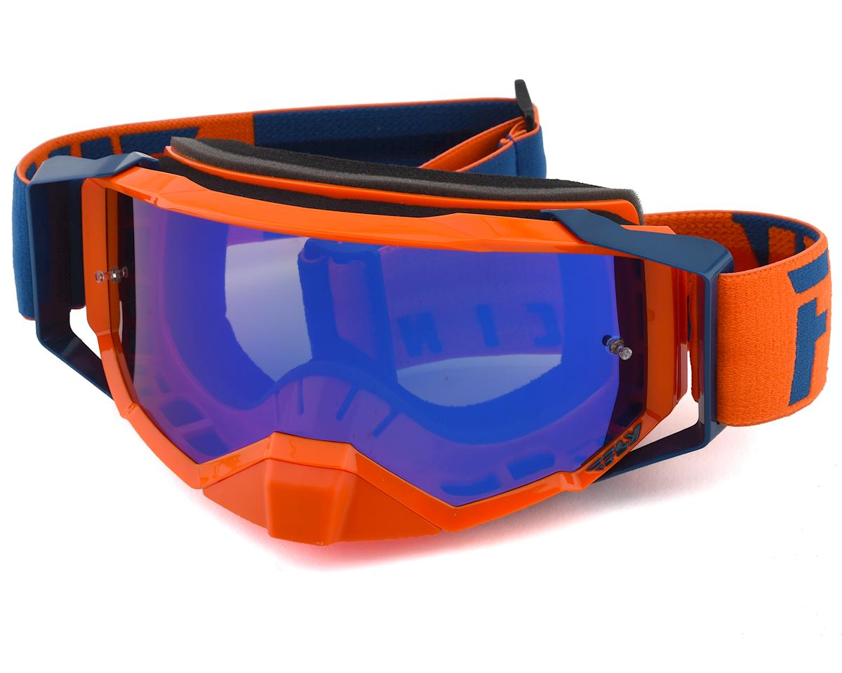 Fly Racing Zone Pro Goggle (Orange/Blue) (Blue Mirror Lens)
