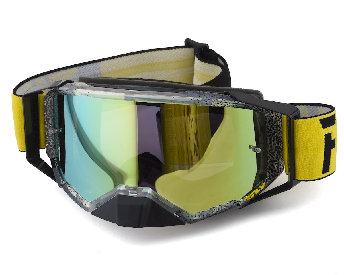 Fly Racing Zone Pro Goggle (Black/Yellow) (Gold Mirror Lens)
