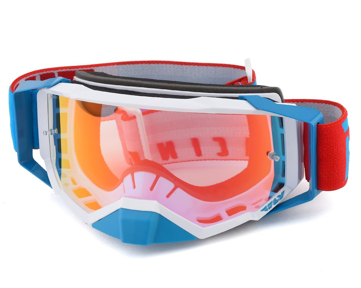 Blue//White//Red//Red Mirror//Smoke//One Size Fly Racing Zone with Post Youth Off-Road Motorcycle Goggles