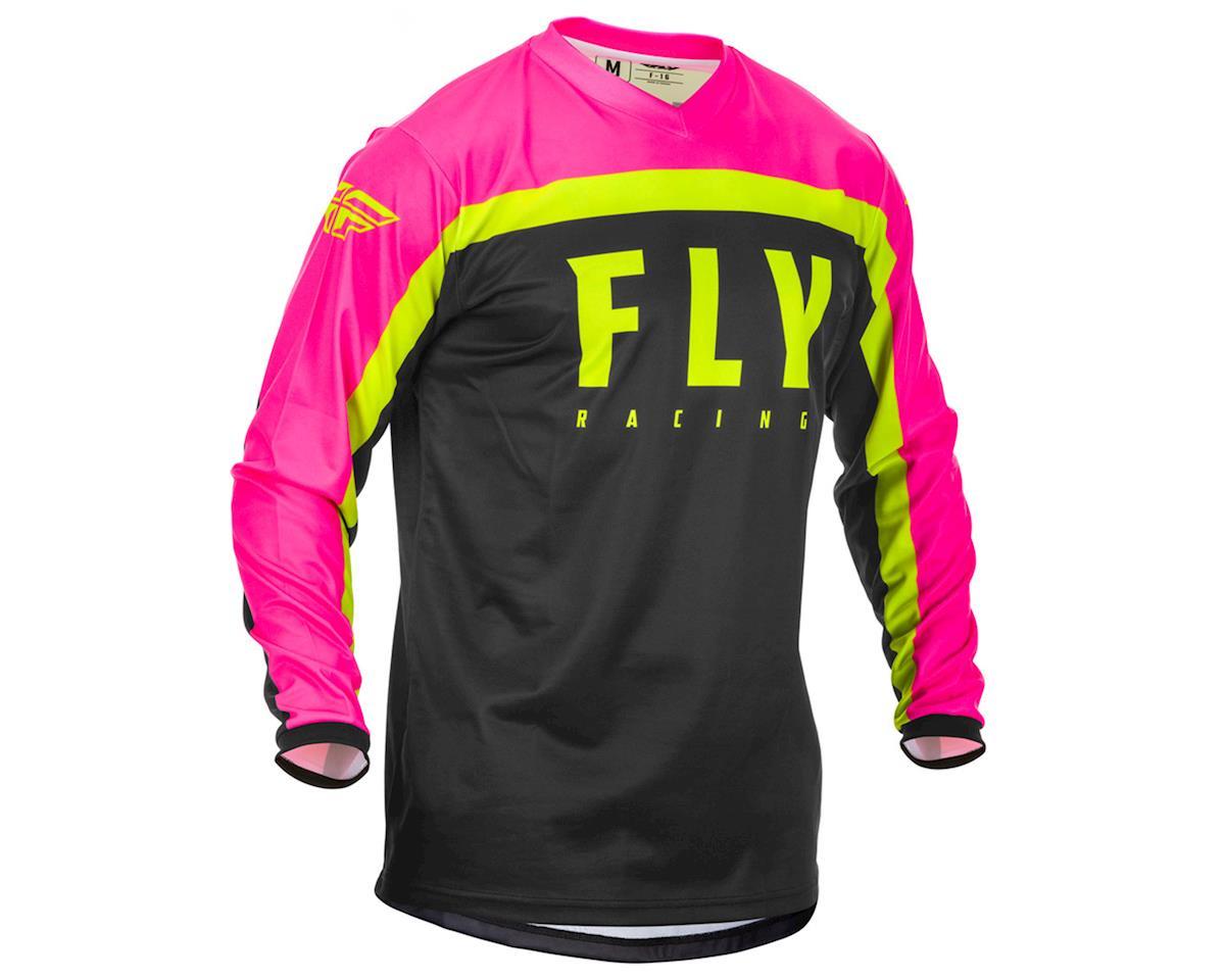 Fly Racing F-16 Jersey (Neon Pink/Black/Hi-Vis) (L)