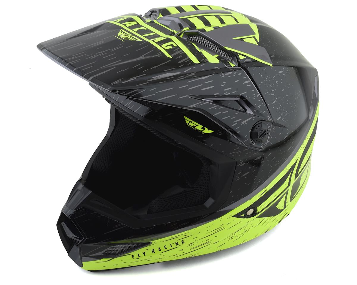 Fly Racing Kinetic K120 Youth Helmet (Hi-Vis/Grey/Black) (Kids L)