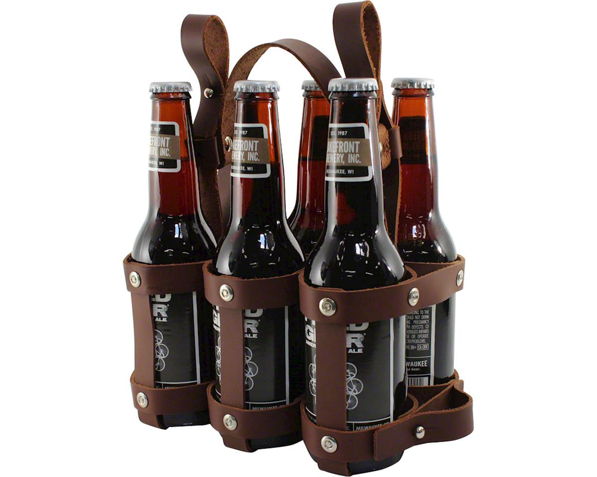 Leather 6 Pack Caddy Brown