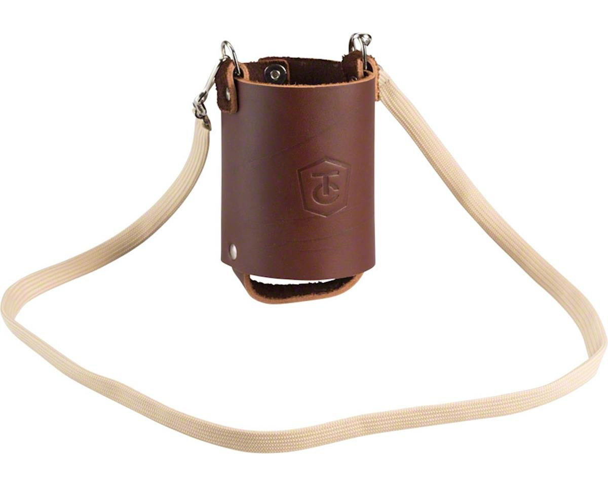 Leather Beer Holster with Strap Brown