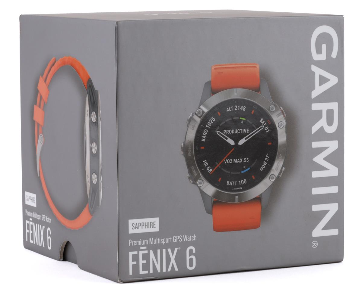 Garmin Fenix 6 Sapphire (Ti Gray w/ Orange Fenix 6 Quick Fit Wristband)