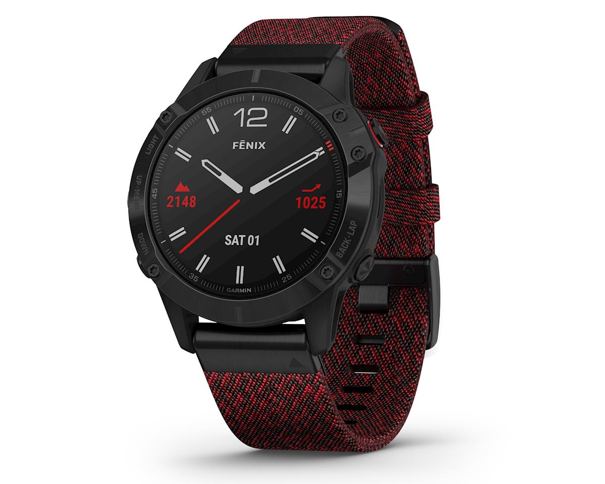 Garmin Fenix 6 Sapphire (Black DLC w/ Red Nylon Fenix 6 Quick Fit Wristband)